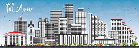 Téléphone Aviv Skyline avec Gray Buildings et le ciel bleu illustration stock