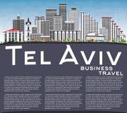 Téléphone Aviv Skyline avec Gray Buildings, le ciel bleu et l'espace de copie illustration libre de droits