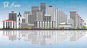 Téléphone Aviv Skyline avec Gray Buildings, le ciel bleu et les réflexions illustration stock