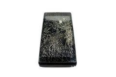 Téléphone cassé noir Photos libres de droits