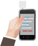 Téléphone, crédit, carte, lecteur illustration de vecteur