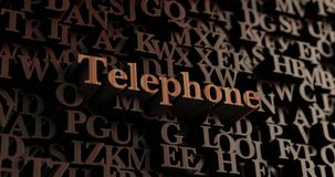 Téléphone - 3D en bois a rendu des lettres/message Photos stock