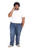Téléphone d'homme d'Afro-américain Photographie stock