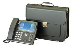 Téléphone d'IP avec la serviette, concept d'affaires rendu 3d Image libre de droits
