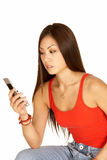 Téléphone de composition d'appareil-photo de femme asiatique photos stock