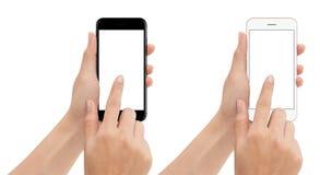 Téléphone de contact de main d'isolement avec le chemin de coupure sur le fond blanc photos libres de droits