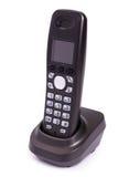 Téléphone de couleur noire, digital, sans fil, d'isolement Photo stock