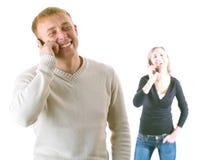 téléphone de couples Images libres de droits