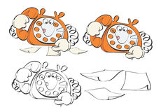 Téléphone de dessin animé prenant la commande Photographie stock