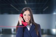 Téléphone de femme d'affaires Image libre de droits
