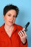 Téléphone de fixation de femme photos libres de droits