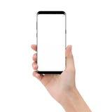 Téléphone de maquette en jugeant la main d'isolement sur le clipp blanc de fond images stock