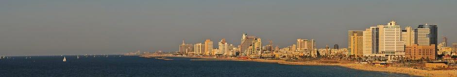 téléphone de panorama de littoral d'aviv Image libre de droits