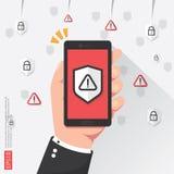 téléphone de participation de main avec l'attention avertissant le signe vigilant avec le symbole de marque d'exclamation sur l'é Photographie stock libre de droits