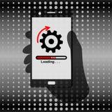 Téléphone de participation de main pour la communication d'affaires Chargement d'icône sur l'écran illustration libre de droits