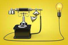 Téléphone de vintage relié à l'ampoule d'idée créative 3d les déchirent Images stock