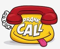 Téléphone drôle de bande dessinée polisson d'appel pour April Fools ', illustration de vecteur illustration de vecteur
