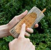 Téléphone en bois 01 Photo stock