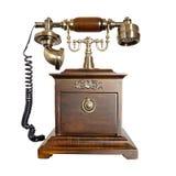 Téléphone en bois antique Photographie stock libre de droits