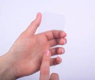 Téléphone en verre transparent à disposition Photos stock