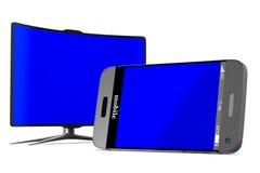 Téléphone et TV sur le fond blanc 3D d'isolement Images libres de droits