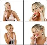 téléphone femelle de cellules blondes de beauté utilisant photo libre de droits