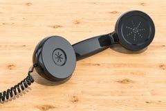 Téléphone fixé à la main sur la table en bois rendu 3d illustration libre de droits