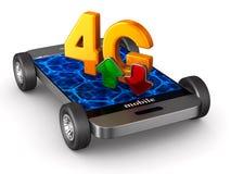 téléphone 4G sur le fond blanc Illustration 3d d'isolement Photo stock