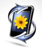 Téléphone intelligent avec des flèches Images libres de droits