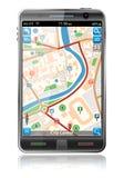 Téléphone intelligent avec l'application de navigation de GPS Images stock