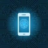 Téléphone intelligent avec le fond de carte mère de circuit de Brain Image Icon Over Blue Image libre de droits