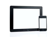 Téléphone intelligent blanc et tablette digitale photo libre de droits