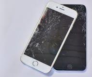 Téléphone intelligent cassé Photos stock