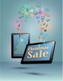 Téléphone intelligent, comprimé, Smart TV en vente de Noël Photo libre de droits