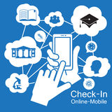 téléphone intelligent d'écran tactile, étude d'éducation Image libre de droits