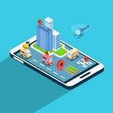 Téléphone intelligent 3d de cellules d'application de navigation de rue de ville isométrique Images stock