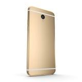 téléphone intelligent d'or du rendu 3D avec l'écran noir Images stock