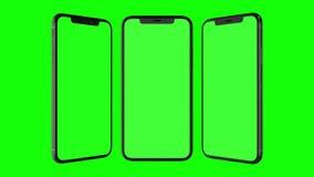 Téléphone intelligent d'isolement avec l'écran vert Photo stock