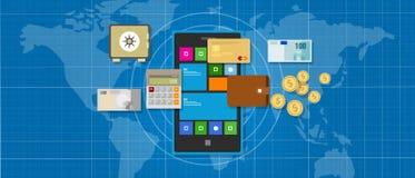 Téléphone intelligent d'opérations bancaires d'application mobile de finances Image libre de droits