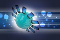 Téléphone intelligent dans le monde entier Image libre de droits