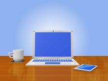 Téléphone intelligent de tasse de café d'ordinateur portable sur le bois Images libres de droits
