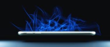 Téléphone intelligent flottant sur le noir photos stock