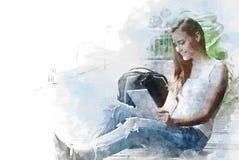 Téléphone intelligent fonctionnant de comprimé de belle femme abstraite extérieur illustration de vecteur