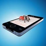 Téléphone intelligent, mobilophone avec le jeu de hockey sur glace Photos libres de droits