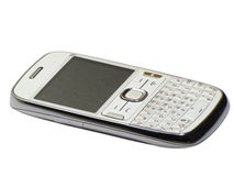 Téléphone intelligent moderne QWERTY d'isolement sur le blanc Photographie stock
