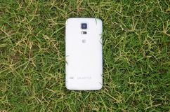 Téléphone intelligent se trouvant sur l'herbe Photos libres de droits