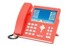 Téléphone moderne d'IP de rouge, rendu 3D Image libre de droits