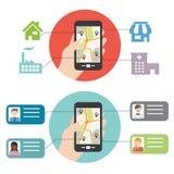 Téléphone montrant la carte Photo libre de droits
