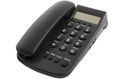 Téléphone noir de bureau Photos libres de droits