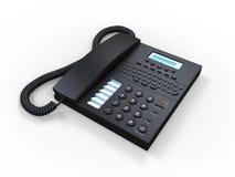 Téléphone noir de SMS de bureau d'isolement sur le fond blanc Image stock